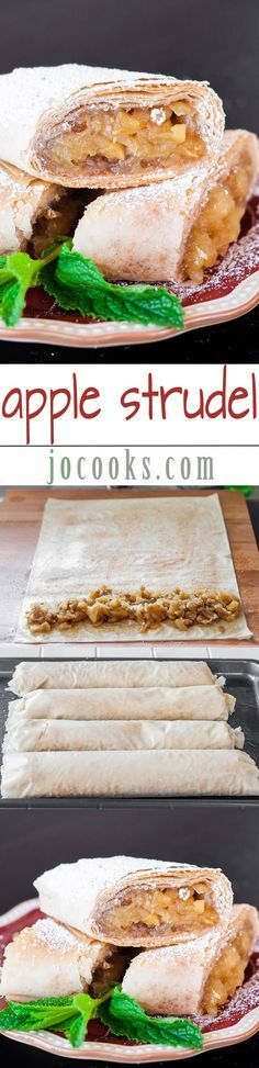 Apple Strudel - This amazing recipe will make you enjoy the classic taste of Austrian-style apple strudel made easy with store-bought phyllo, apples and more. Read Recipe by jocooks Phyllo Dough Recipes, Strudel Recipes, Puff Pastry Recipes, Apple Turnovers With Puff Pastry, Fruit Recipes, Apple Recipes, Sweet Recipes, Dessert Recipes, Cooking Recipes