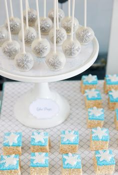 Glam up your NYE party dessert table with a batch of Winter Wonderland Rice Krispies Treats.