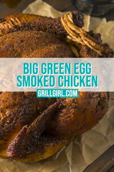A straight forward Big Green Egg whole smoked chicken. A whole chicken is a great meal and a simple cook on the Big Green Egg. Adding some fresh vegetables in the chicken and dry herbs on top makes this chicken super flavorful. Easy Bbq Recipes, Grilling Recipes, Barbecue Recipes, Smoker Recipes, Free Recipes, Smoked Chicken Recipes, Smoked Whole Chicken, Turkey Recipes, Bbq Rub Recipe