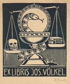 Ex Libris Jos. Völkel Schale und Teller mit Äskulapnatter, dahinter Waage mit Schädel und Büchern. o.J. 129 x 120 mm Buchdruck