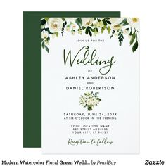 Shop Modern Watercolor Floral Green Wedding Invite created by PearlBay. Floral Wedding Invitations, Wedding Invitation Cards, Zazzle Invitations, Invite, Rose Wedding, Green Wedding, Elegant Wedding, Summer Wedding, White Envelopes