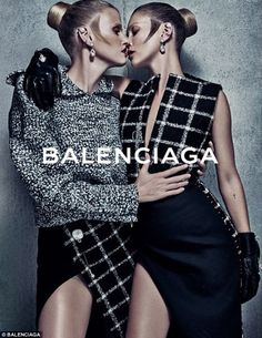 Supermodels Kate Moss and Lara Stone get up-close-and-personal for the Balenciaga Fall/Winter 2015 ad campaign photographed by Steven Klein! Foto Fashion, Fashion Shoot, Fashion Art, Editorial Fashion, Fashion Brands, High Fashion, Womens Fashion, Fashion Design, Lara Stone