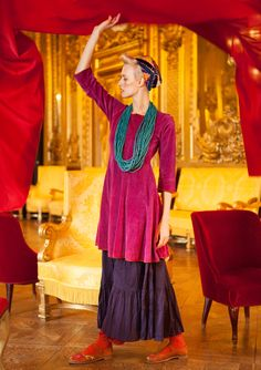 Velour dress in organic cotton & polyester – Skirts & dresses – GUDRUN SJÖDÉN – Webshop, mail order and boutiques | Colourful clothes and home textiles in natural materials.