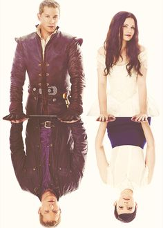 Once Upon A Time, Charming and Snow with their Storybrooke identities reflected in front of them.