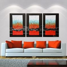 """Hand-Painted """"Fire And Water Compatible"""" 3-Piece Gallery-Wrapped Flower Oil Painting On Canvas"""