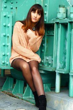 black and tan Liliana Garcia, Sheer Tights, Black Pantyhose, Autumn Summer, Winter, Hosiery, Look, Short Dresses, Style