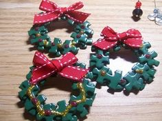 Christmas puzzle piece wreath pin..... These are worth a try.  I'm always finding puzzles at garage sales.