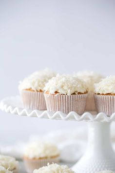 These dairy free coconut cupcakes are made with a hint of whole wheat flour for a nutty flavor that pairs really well with coconut. Dairy Free Cupcakes, Dairy Free Muffins, Dairy Free Cheesecake, Cheesecake Cupcakes, Homemade Cake Recipes, Cupcake Recipes, Cupcake Cakes, Dessert Recipes, Kokos Cupcakes