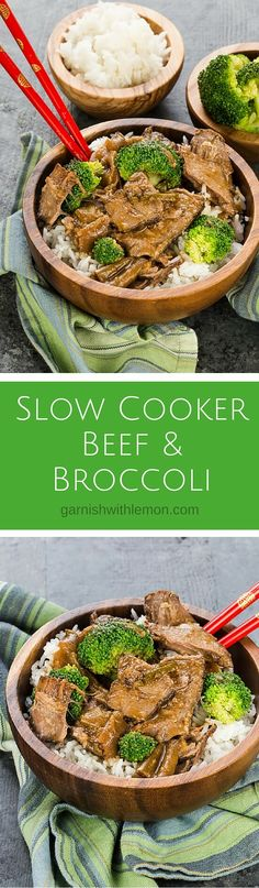 Make your own version of take out at home with this Slow Cooker Beef and Broccoli recipe! ~ http://www.garnishwithlemon.com