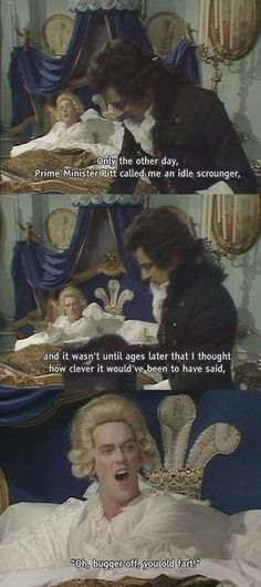 Blackadder! Just an FYI-the guy in the powdered wig is Hugh Laurie aka Gregory House...