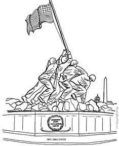 Veterans Day - Iwo Jima picture to color
