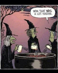 Halloween witches with hand mixers! :-)