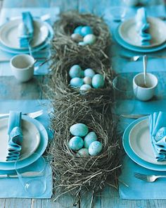 turquoise! Tabletop and birds nest with blue eggs for centerpiece.  Love this - could do with either paper mâché eggs or pretty crystal eggs (rocks like quartz etc) blue tablescape humble and pretty might make nice picnic table centerpiece connecting nature...