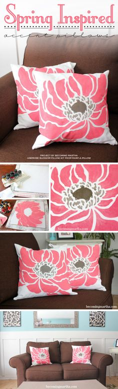 Cutting Edge Stencils shares DIY spring inspired painted pillow using the Anemone Blossom stencil from Paint-A-Pillow. http://paintapillow.com/index.php/anemone-blossom-paint-a-pillow-kit.html?utm_source=Juan&utm_medium=Pinterest&utm_campaign=Anemone%20Blossom%20Paint-a-Pillow%20Kit%20