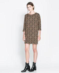 GOLD BROCADE SWEATER DRESS from Zara