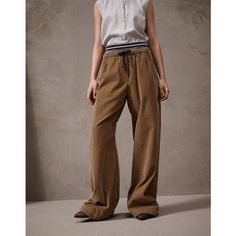 Brunello Cucinelli Casual Trousers ($1,280) ❤ liked on Polyvore featuring pants, beige, brunello cucinelli, striped trousers, brown pants, long pants and beige pants