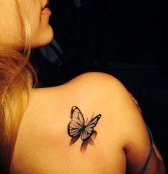3d shoulder butterfly tattoo design