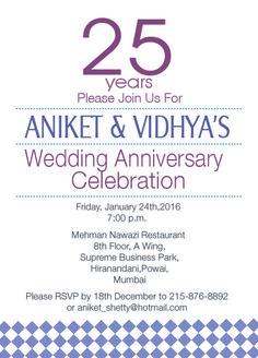 Simple 25th Wedding Anniversary Celebrartion Invitation