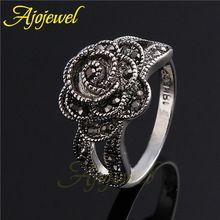Ajojewel marca 18 K oro blanco plateado estilo Retro Vintage Crystal Rhinestone negro dedo de la flor para para(China (Mainland))