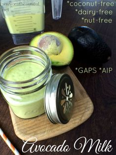 Use the honey option for AIP~ Avocado Milk *nut-free *dairy-free *coconut-free *GAPS *AIP - Eat Beautiful Clean Recipes, Raw Food Recipes, Healthy Recipes, Cooking Recipes, Juice Recipes, Healthy Foods, Dairy Free Milk, Gaps Diet, Avocado Recipes
