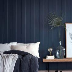 Porter's Paints Mayfair Mariner or Antique blue Dark Blue Feature Wall, Blue Feature Wall Bedroom, Timber Feature Wall, Timber Wall Panels, Bedroom Wall Colors, Home Decor Bedroom, Bedroom Wall Texture, Dark Blue Bedrooms, Dark Blue Walls