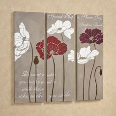 Dancing Poppies Canvas Art Set Taupe Set of Three
