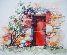 Watercolor and Ink, Tuscany Italy - beautiful!