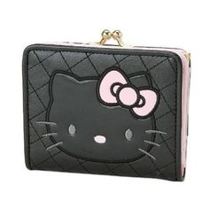 Hello Kitty Wallet w/ Coin Purse Quilted BLACK w/ Pink Ribbon Sanrio Japan Exclusive