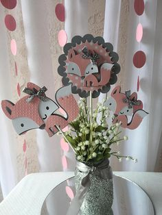 Woodland Fox baby Girl/ Fox Pink and Gray centerpieces