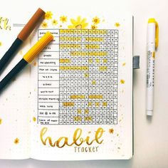 This has to be my favorite spread ever. This is my new habit tracker! I found some inspiration through YouTube and used it with my theme. The fact that I love it so much makes me want to use it! What do you think? . . . . . #bulletjournaling #bulletjournal #bujoinspire #bujo #bujotracker #bujocollection #bujoweeklyspread #bujoideas #weeklyspread #monthlyspread #habittracker #bujojunkies #bujojunkie #getorganized #yellow #sunflowers #stationarylove #bullet #showmeyourplanner #planneraddict