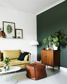 Interior Design Trends + the 2016 High Point Market Style Report – Anne Sage dark-green-accent-wall-via-Anne Sage Dark Green Living Room, Accent Walls In Living Room, Home Living Room, Living Room Designs, Living Room Decor, Bedroom Decor, Green Accent Walls, Dark Green Walls, Green Accents