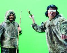 "A re-enactment scene from the making-of of the documentary film ""Trapped in a Human Zoo""./ Une scène de reconstitution lors du tournage du documentaire ""Piégés dans un zoo humain"". (Photo: France Rivet)"