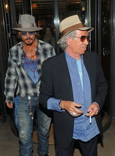 Johnny Depp and Keith Richards - Johnny Depp and Keith Richards Leave Locanda Locatelli