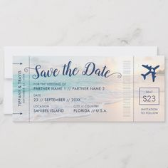 Shop Beach Wedding Sunset Boarding Pass Save the Date Announcement created by PaperGrapeTravel. Personalize it with photos & text or purchase as is! Destination Wedding Save The Dates, Destination Weddings, Beach Weddings, Themed Weddings, Romantic Weddings, Unique Weddings, Beach Wedding Decorations, Beach Wedding Ideas On A Budget, Simple Beach Wedding