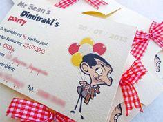 παρτυ Mr Bean προσκληση Mr Bean Birthday, First Birthday Parties, 3rd Birthday, First Birthdays, Mr Bin, Kids Party Themes, Party Ideas, Beans, Lily