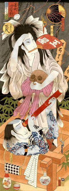 Hiroshi Hirakawa paintings skull woman