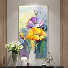 Gold art acrylic flower abstract paintings wall art pictures for living room wall decor blue thick texture canvas original home decoration - Gold acrylic flower wall decor abstract paintings on canvas Oil Painting Flowers, Abstract Flowers, Painting Metal, Acrylic Flowers, Diy Flowers, Green Canvas Art, Blue Canvas, Contemporary Abstract Art, Modern Contemporary