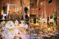 gold decor, multiple florals, candle decor #hydrangea #roses #fleurtaciousdesigns -Elario Photography