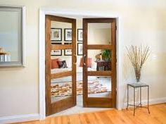 We love the custom feel of these french doors. Glass panels in this three panel interior door design is perfect for a den door, office door, library door or more for your home. French Interior, Home Interior, Interior Decorating, Interior Design, Modern Interior, Interior Office, Decorating Blogs, Luxury Interior, Internal French Doors