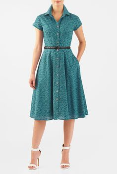 Fish print cotton fit-and-flare belted shirtdress #eShakti