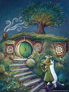 New Modern Postcard Hobbit Unposted Art Book Lord of the Rings Tolkien LOTR Hobbit Art, Hobbit Hole, The Hobbit, Tolkien, Hole Drawing, Middle Earth, Lord Of The Rings, Lotr, Painted Rocks