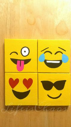 Emoji Mini Magnet Canvases - Refrigerator Magnets - Emoji - Emoji Canvas - Emoji Stocking Stuffer - Wink Emoji - Love Emoji  - Emoji Gift by LifeisChaos on Etsy https://www.etsy.com/listing/468525028/emoji-mini-magnet-canvases-refrigerator Kids Canvas Art, Canvas Crafts, Diy Canvas, Canvas Ideas Kids, Emoji Painting, Kids Paint Night, Emoji Room, Easy Paintings, Mini Paintings