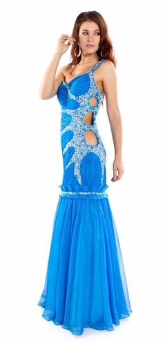 Gorgeous Long Blue Pageant Dress Side Cut Out Rhinestone One Shoulder $297.99