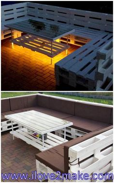 If you are thinking of a unique way to decorate and style your roof top in a stylish manner then making use of pallet wood to make furniture adorning the place is an awesome idea. Outdoor Pallet Projects, Pallet Patio Furniture, Backyard Projects, Diy Furniture, Wood Pallets, Pallet Wood, Pallet Decking, Outside Patio, Outdoor Living