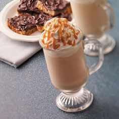 Frosty Caramel Cappuccino Recipe -This frothy frosty beverage is positively delicious for breakfast, a mid-afternoon snack or an after-dinner dessert. It's also a great quick treat to serve with a plate of cookies when friends come to call during the holidays. To make the ice cream topping easier to drizzle, put it in a squeeze bottle, take the cap off and microwave for a few seconds. —Carol Mann, Summerfield, Florida