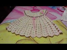 Vestido para bebe a ganchillo o crochet [] # # # # # # # # # Crochet Girls, Crochet Baby Clothes, Crochet For Kids, Baby Bunting, Knitting Videos, Crochet Videos, Crochet T Shirts, Knit Crochet, Easy Crochet