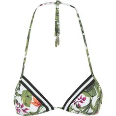 Seafolly Jungle Out There Slide Triangle Bikini Top ($52) ❤ liked on Polyvore featuring swimwear, bikinis, bikini tops, seafolly swimwear, triangle bikini top, green swimwear, triangle swimwear and green bikini top