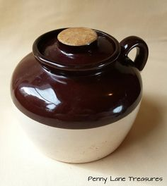 Bean Crock ~ Jug ~ Cork Lid ~ 1950's ~ USA ~ Two Tone ~ Brown & Beige ~ Kitchen Ware ~ Rustic ~ Primitive ~ Crockery ~ Penny Lane Treasures by PennyLaneTreasures on Etsy