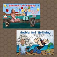 Boy or Girl Popeye Birthday Party Invitations by KDesigns2006