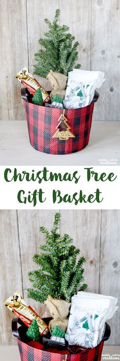 Christmas Tree Gift Basket with TURTLES! Such a fun and easy gift giving idea!